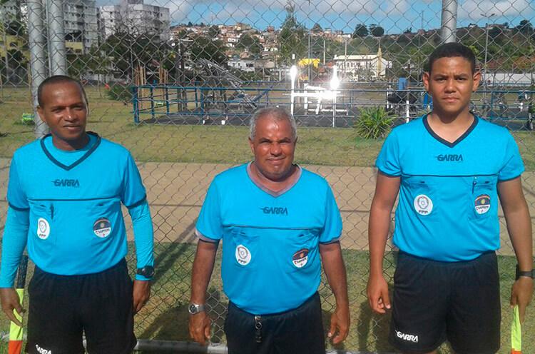 Trio de Arbitragem do jogo entre Futebol Club Buriti e HB Talentos da categoria Sub-13